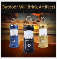Wholesale New outdoor LED portable lights lantern camping lights emergency lights tent lights solar charger upgraded version with flashlight