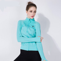 Wholesale Women Leisure Sports Fitness Tight Long sleeved Sweater With High Collar Compression Jacket Solid Color T shirt Athletic