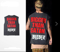 Wholesale Sleeveless Justin Bieber Concert Shirt For Sale Fear Of God Vest Tops For Men Bigger Than Satan Printed In Gray