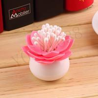 Wholesale New Lotus Flower Cotton swab box bud base room decorate Toothpicks holder Toothpick case Home Storage Organizer Household