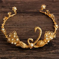 Wholesale 2016 Golden Swan Wedding Crown Tiaras Headpieces Party Wedding Hair Accessories