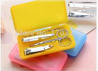 Wholesale 1set Nail Manicure Set Tools Clipper Kit Nail Care Set Pedicure Scissor Tweezer Knife Ear pick set DHL Fedex Free ship