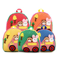 baby rucksacks - New Cute Kids School Bags Cartoon Animal Applique Canvas Backpack Mini Baby Toddler Book Bag Kindergarten Rucksacks