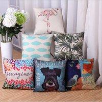Wholesale 45cm cm Geometric animal pattern linen pillow cover sofa and seat pillow case decorative pillow