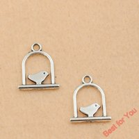 antique bird cages - 100pcs Antique Silver Tone Cages Birds Charm Pendant Jewelry DIY Jewelry Findings Making x15mm jewelry making