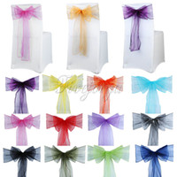 basket chairs - 10PCS x108 quot Organza Chair Sash Bow For Cover Banquet Wedding Party Event Xmas Decoration Supply