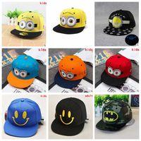 Wholesale Adult Minion Baseball Caps Kids Fashion Minions Hats Casual Sun Caps Summer Snapbacks Hats Batman Emoji Hats Street Hip Hop Caps B733