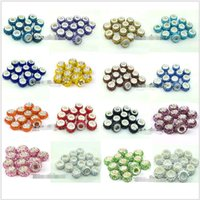 Wholesale Fashion Resin Rhinestone Beads Assorted Large Hole Silver Plated Core Crystal Loose Bead for Making Bracelets DIY Jewelry