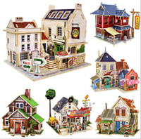 Wholesale DIY kid D wood puzzle home style model Children s educational toys building blocks of all over the world kit toy