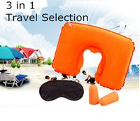 air filled pillow - Sleeping Eye Mask Inflatable U Shaped Pillow Air Filling Pillow Noise canceling Earplugs in1 Travel Set