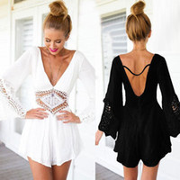 Wholesale Shorts Jumpsuit Women V Neck Sexy Lace New patchwork Hollow out Waist Rompers Backless Rompers Women Jumpsuit A068