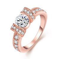 Wholesale 1pc size6 lady s rose gold plated ring that European and American popular geometric Crizon Ring