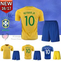 adult soccer uniforms sets - 2016 Brazil soccer jerseys adult kits Uniforms men s sets PELE Neymar Jr Silva David Luiz Hulk Oscar football shirts with soccer shorts