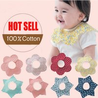 Wholesale 100Pcs baby infant degree rotation flower petals multifunction waterproof bibs snap fastener colorful babador ZA0269