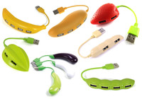 banana usb - novelty creative design of fruit banana mango strawberry carambole USB2 hub port blister packing