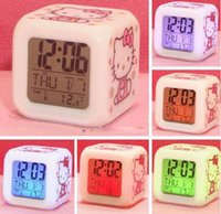 Wholesale Hello Kitty Cartoon Clock Colors Changing LED Table Clock Flash Luminous Square Table Clock Fast Shipping