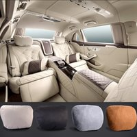 Wholesale 2Pcs Maybach Design S Class Ultra Soft Natrual Car Headrest Neck Seat Cushion Pillow Covers For Benz A B C E CLS GLS GLE GLC AMG