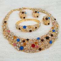 Wholesale Middle East Foreign Trade Factory Direct Bridal Wedding Jewelry Sets K Gold Plated Pieces Sets Necklace Earrings Set