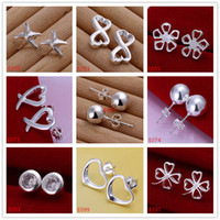 Wholesale women s sterling silver earring pairs a mixed style EME2 new arrival fashion silver stud earrings