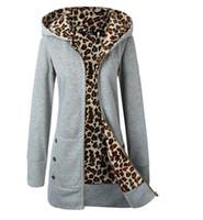 Wholesale Cotton Plus Cashmere - New Winter Fashion Women Hooded Thicker Leopard Cashmere Sweater Coat Plus Size XXXL Long Cloak Sweatshirts