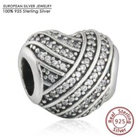 Wholesale Fits pandoro Bracelets Love Lines Heart Charms Beads Sterling Silver AAA Clear CZ Heart Bead Diy Mothers Day Jewelry