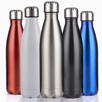 Wholesale 2016 New Design Double Layer Vacuum Stainless Steel ml Coke Bottle Beer Mug Double layers Creative Cup for Healthy Drinking Water