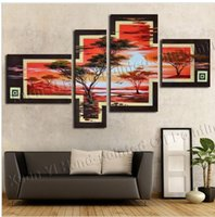 african forest animals - anel Hand Painted Canvas Cloud Forest African Art Wall Tree Picture Modern Home Decoration Landscape Oil Painting
