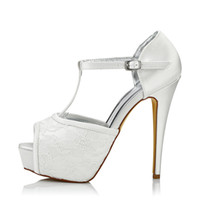 Wholesale Stilettos Shoes China - 2017 Super High Heel Lace Dyeable Satin Wedding Dress shoes Platform White Color Wholesale Women Bridal Wedding Shoes Made in China