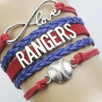 adjustable cord bracelet - Custom Infinity Love Texas Rangers Baseball Sport MLB Team Bracelet Wax Cords Leather Wrapped Adjustable Bracelet Bangles Drop Shipping