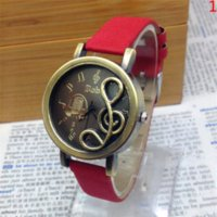 art glass clock - Women Musical Note Watch Retro Style Design Copper Art Leather Watchband Quartz Clock Fashion Casual Women Watch