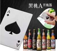 ace materials - Creative stainless steel material poker playing card ace of spades bar tool soda beer bottle cap opener