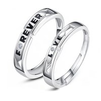 Wholesale New Fashion Jewelry Couple Rings Forever Love Silver Adjustable Rings Wedding Gifts For Woman and Man