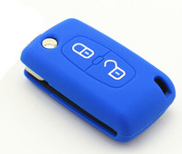 bags fob - Peugeot Folding Flip Key Fob Silicone Key Covers Decoration Key Case Bags Holders For Peugeot Accessory