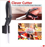 Wholesale 2016 New Clever Cutter in Stainless Steel Kitchen Scissors with Sharp Knife Blade Cutting Board Kid Food Cutter for Meat Vegetable