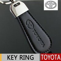 Wholesale Leather Metal Key Ring for Toyota Corolla Avensis Rav4 Yaris Auris Hilux highlander verso Keychain Key Chain Car Styling