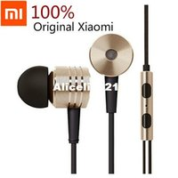 Wholesale Original Xiaomi Piston Headphone Bass Earphones Headset With Remote Mic For Phone MI3 Hongmi Note Retail box gold