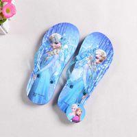 Wholesale 2016 New Summer Kids Cartoon For Frozen Hot Elsa Anna Sandals Flip Flops Beach Anti Slip Slippers Girls Flat Shoes Sandal Mini Melissa Shoes