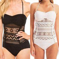 Wholesale Sexy Lace Crochet One Piece Swimwear New Fashion Top Halter Monokini Vintage Hollow Women Swimsuit Lady Beach Bathingsuit CL01083