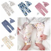 Wholesale 2pcs set Kids INS Leggings Pants With Beanie Baby Boys Girls Clothes Sports Casual Trousers Tights Romper Toddler Pants Trousers M106 B