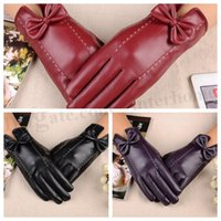 Wholesale Women PU Bowknot Touch Screen Gloves Fashion Windproof Mittens Unisex Waterproof Outdoor Gloves Warm Winter Touch Glove Hot Accessories D226