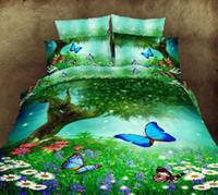 achat en gros de 3d bed set-Vente en gros - luxe d'huile 3d peinture literie fleur rouge ensemble reine 100% 4pcs coton couette / housses de couette draps de drap de lit fixé