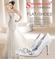 Wholesale New Elegant white Lace Wedding Shoes with Rhinestone Pearls CM CM CM High Heels Women s Shoe bridal Shoes