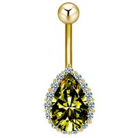 belly rings diamond - Water Drop Belly Button Ring For Women Rhinestone Sapphire Piercing Body Jewelry Gold Plated Dangle for Women