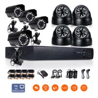 Wholesale 8CH H H mm Lens DVR TVL Night Vision Indoor Outdoor Waterproof CMOS CCTV Security Camera System remote monitoring