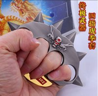 Wholesale NEW HOT skull Through the firewire zinc alloy Brass knuckles Knuckle dusters four fingers Protective Gear