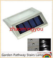 Wholesale YON Solar Power LED Outdoor Lights IP44 Garden Pathway Stairs Lamp Light Energy Saving Solar Lamp Warm White Cold white