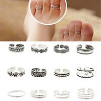 Simples bagues ouvertes Prix-12pcs / lot réglable Doigt d'ouverture Bague Mode féminine Lady Unique Sliver Simple Plaqué Retro sculpté Toe Bague fleur Foot Beach Jewelry