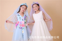 Wholesale 2016 Hot Sale New Kids Crown Veils Lovely Garland Headpiece Veils For Girls Kids Princess Garland Flower Girl Headband For Wedding Events