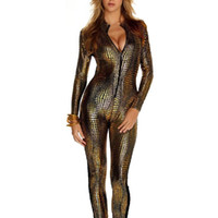 Wholesale Special Design Snake Skin Halloween Long Sleeve Sexy Club Faux Leather Full Bodysuit Catsuit Overall Bodycon Jumpsuit For Women