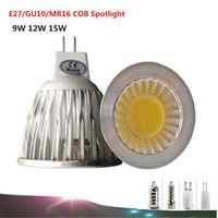 Cheap 1pcs E27 GU10 MR16 GU5.3 E14 LED bulbs of COB Spotlight 9W 12W 15W LED COB Spotlight LED Lamp